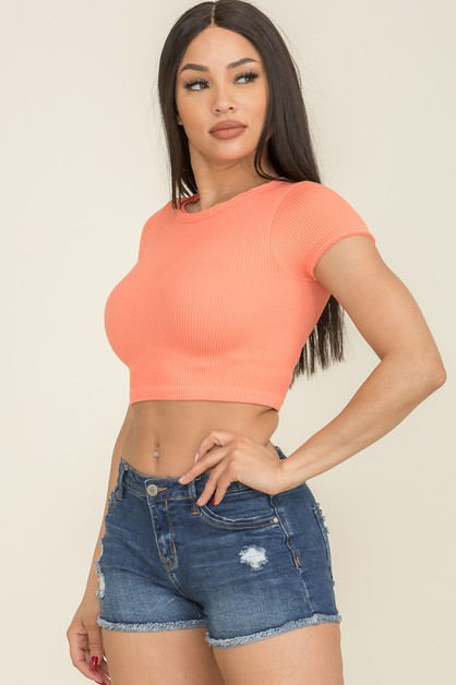 Solid Short Sleeve Crop Top - orangeshine.com