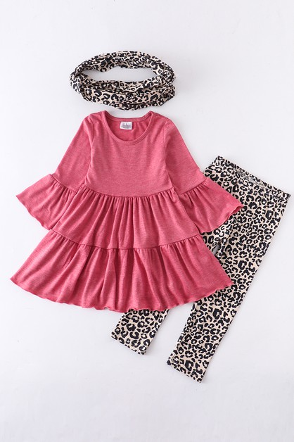 Pink ruffle tunic with leopard scarf - orangeshine.com