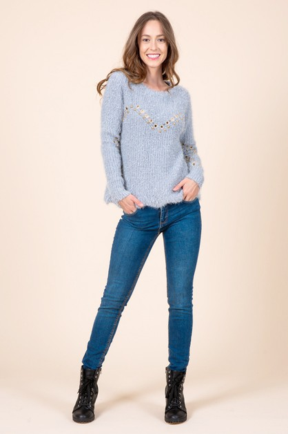 Metallic Eyelet Textured Sweater - orangeshine.com