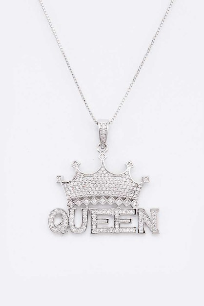 QUEEN Crown CZ Pendant Necklace - orangeshine.com