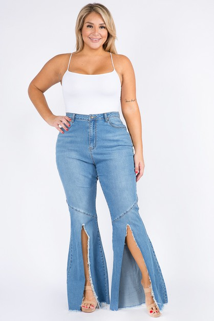 HIGH WAIST FLARE JEANS WITH CUTOUT - orangeshine.com