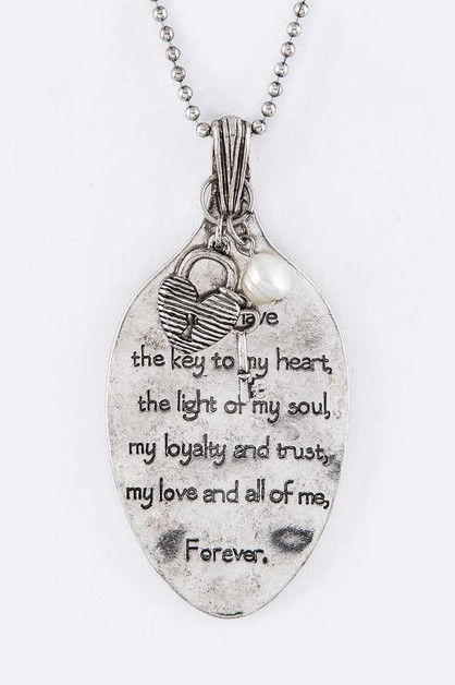 Engraved Love Quote Spoon Necklace - orangeshine.com