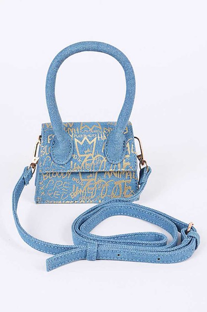 Graffiti Denim Mini Swing Bag - orangeshine.com
