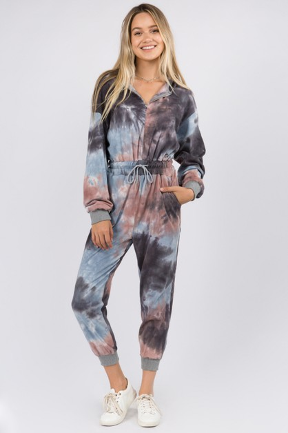 Tie Dye Zip Up Jumpsuit - orangeshine.com