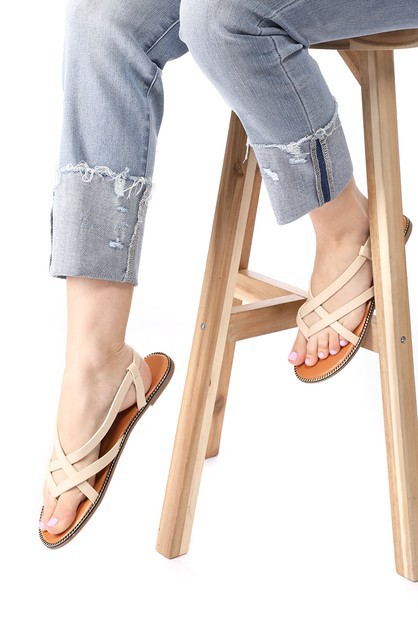 Strappy Flat Thong Sandals - orangeshine.com