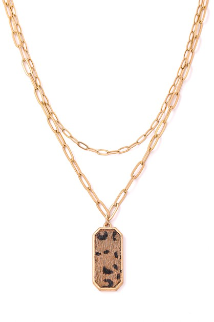 Rectangle Leopard Pendant Necklace - orangeshine.com
