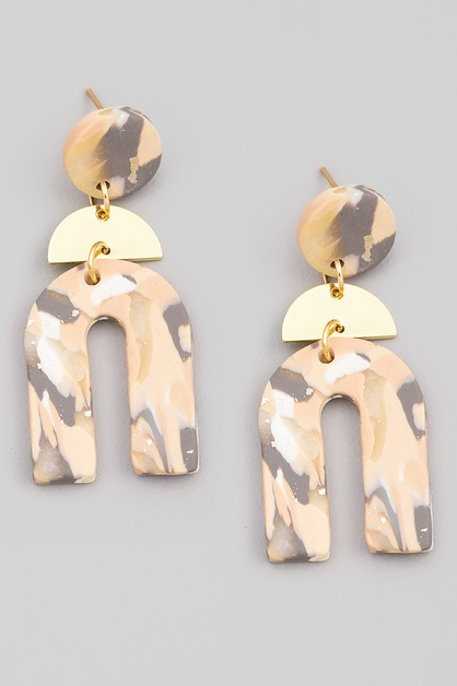 U Shape Semi Circle Drop Earrings - orangeshine.com