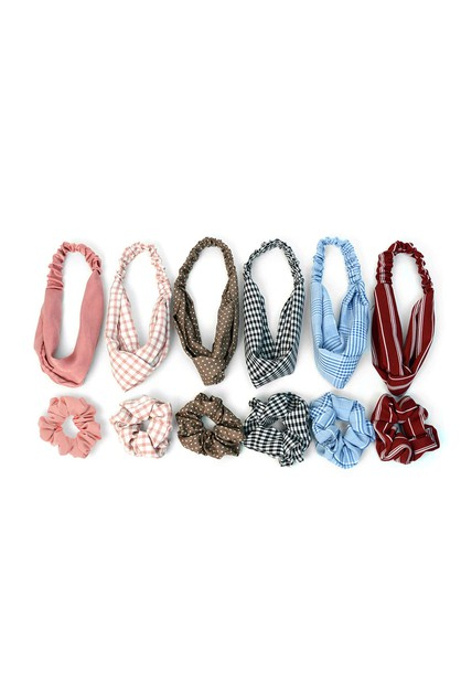 6pc Assorted Headband and Scrunchie - orangeshine.com