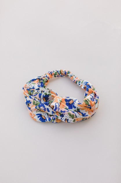 Blue Orange Floral Headband - orangeshine.com