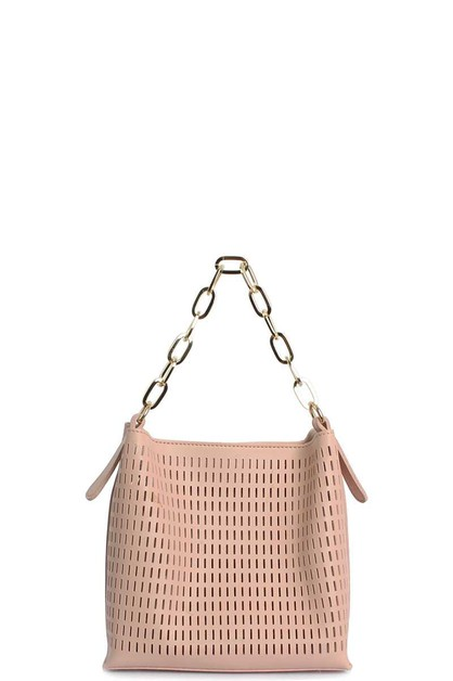 FASHION STRIPE NET METAL STRAP HOBO - orangeshine.com