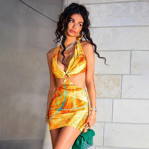 Deep V Cut Out Summer Vacation Dress - orangeshine.com