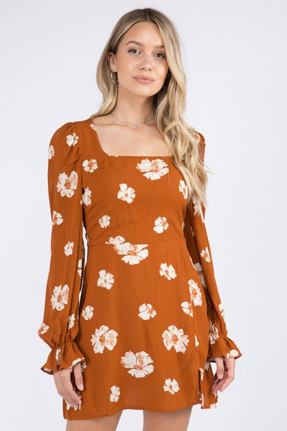 Rust Floral Shift Dress - orangeshine.com