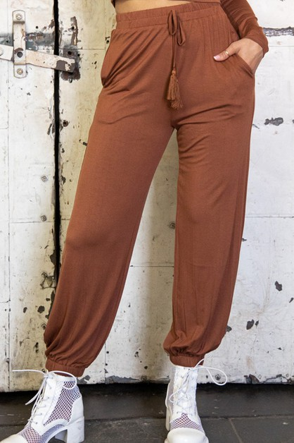 Side Pocket Tassel Harem Pants - orangeshine.com
