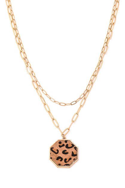 Octagon Cheetah Pendant Necklace - orangeshine.com
