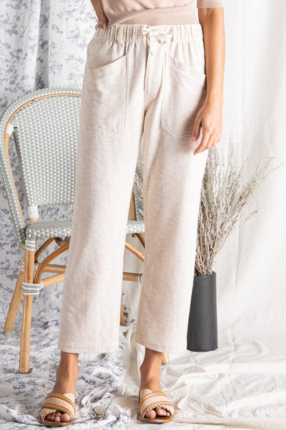 TEXTURED KNIT PANT WITH ELASTIC WAIS - orangeshine.com