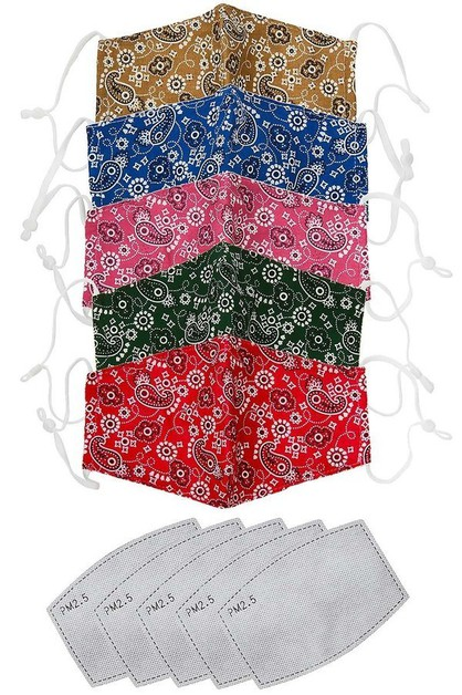 Set of 5, Paisley print face mask wi - orangeshine.com