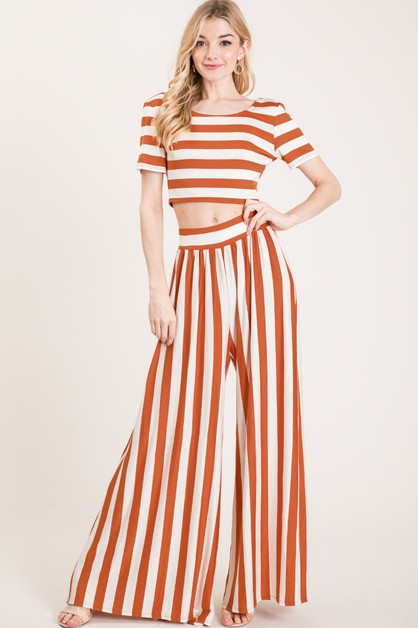 Striped Crop Top and Pants Set - orangeshine.com