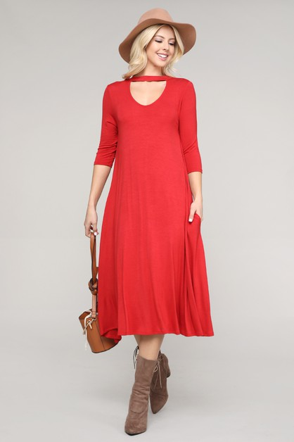 3-QTR SLEEVE A-LINE MIDI DRESS - orangeshine.com
