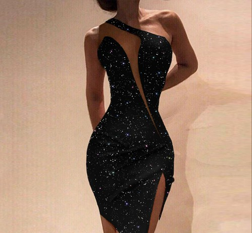 One Shoulder Sexy Party Dress - orangeshine.com