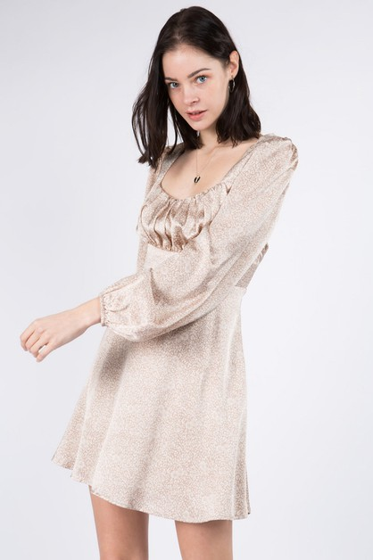Satin Puff Sleeves Dress - orangeshine.com