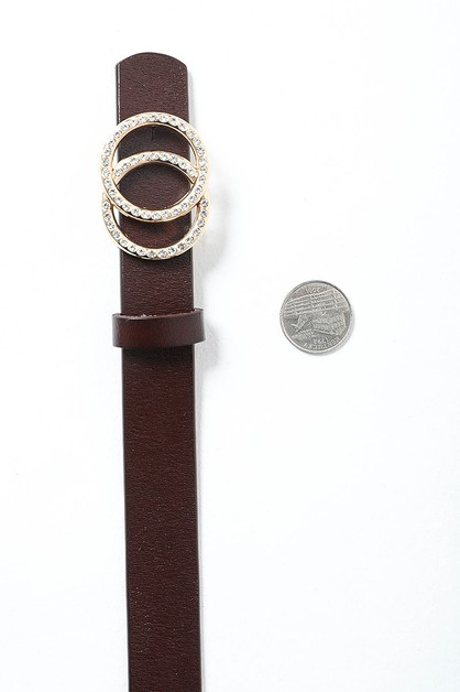 Double Ring Buckle Leather Belt - orangeshine.com