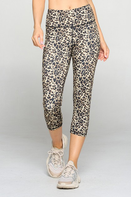 Active Cheetah Print Workout Capri L - orangeshine.com