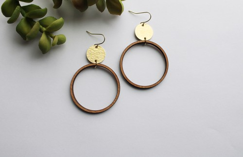Round Cherry Wood and Brass Earrings - orangeshine.com
