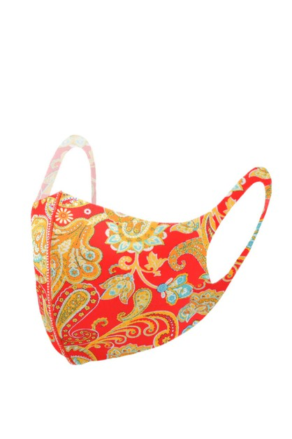 Red Paisley Print Fashion Face Mask - orangeshine.com