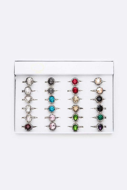 Birthstone Crystal Ring Set - orangeshine.com