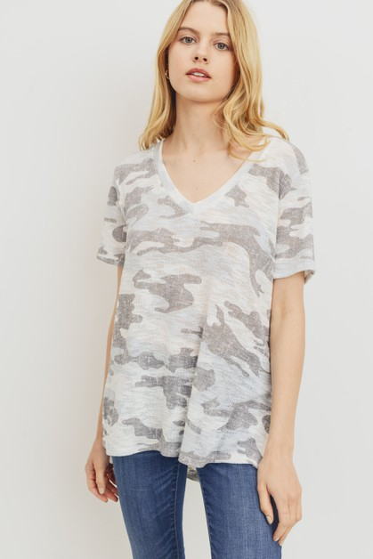 Camo Print V-Neck Knit Top - orangeshine.com
