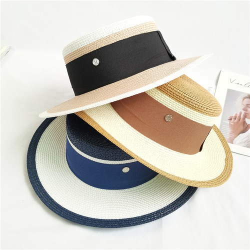 Women flat top jazz straw hat - orangeshine.com