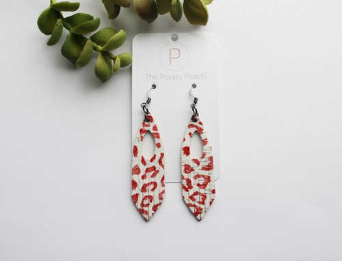 Leather Cork Leopard Fringe Earrings - orangeshine.com