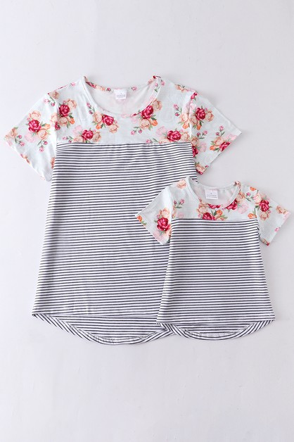 Floral stripe mommy and me shirt - orangeshine.com