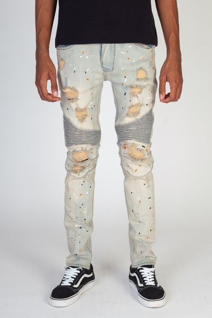 RIPPED MOTO JEANS MULTI PAINT SPLASH - orangeshine.com