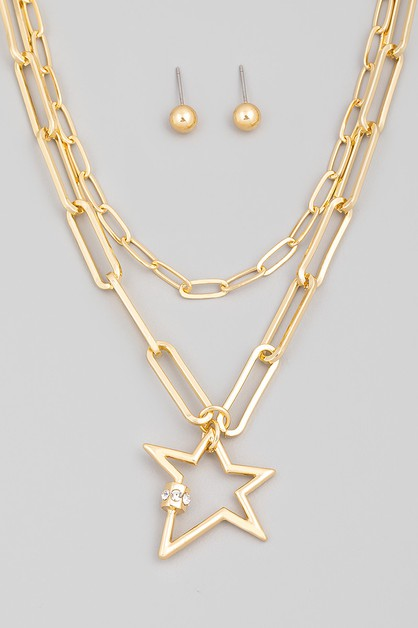 Layered Chain Link Star Pendant Neck - orangeshine.com