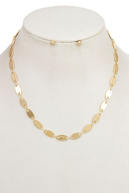 OVAL FLAT LINK CHAIN NECKLACE SET - orangeshine.com
