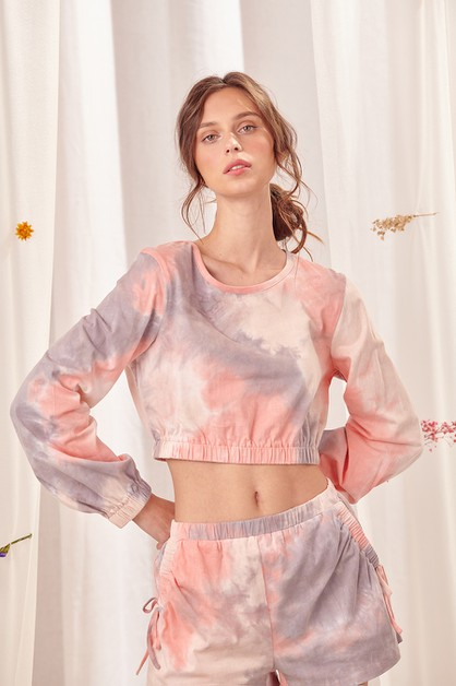 Long Sleeve Tie Dye Crop Top - orangeshine.com