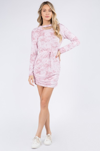 Ruche Sides Soft Terry Tie Dye Dress - orangeshine.com