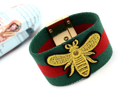 Bee embroidered bracelets - orangeshine.com