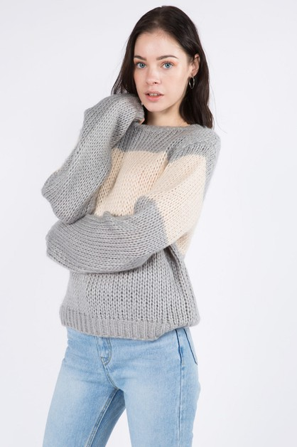 Light Weight Color Block Sweater - orangeshine.com