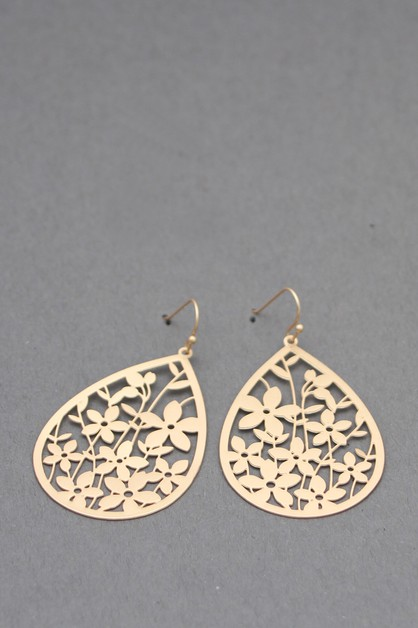 METAL FILIGREE DANGLE EARRINGS - orangeshine.com