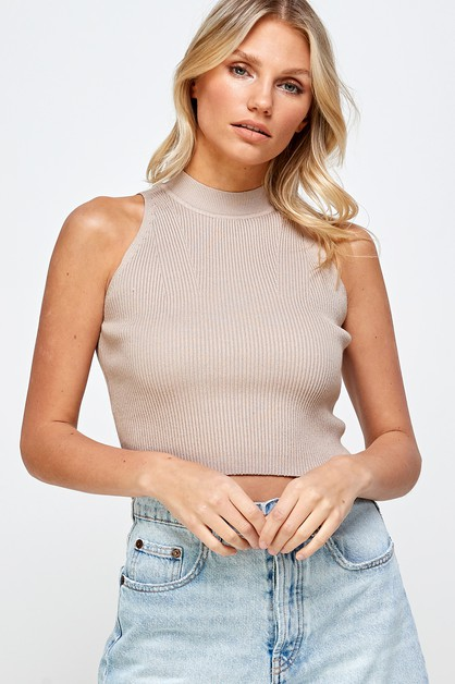 RIBBED KNIT HIGH NECK TOP - orangeshine.com