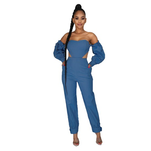 Sexy Open Shoulder Denim Jumpsuit - orangeshine.com