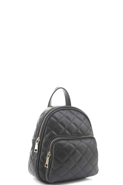 QUILTED STITCHING ZIPPER BACKPACK - orangeshine.com