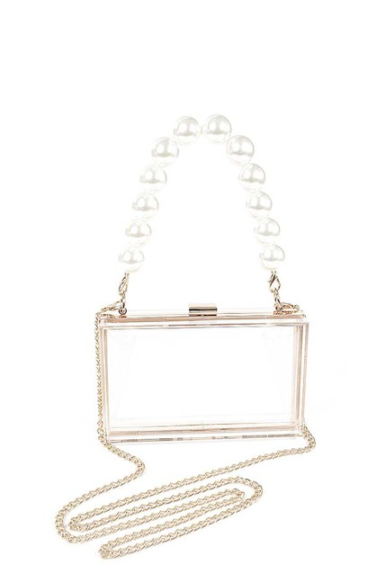 CLEAR PEARL HANDLE CHAIN CLUTCH - orangeshine.com