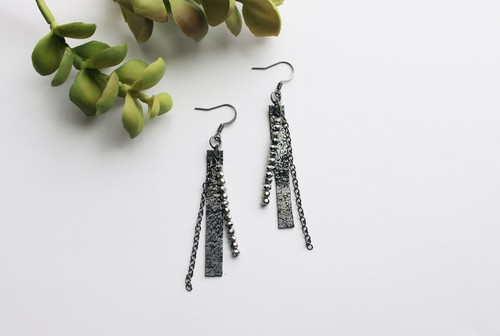 Leather Black Metallic Earrings - orangeshine.com