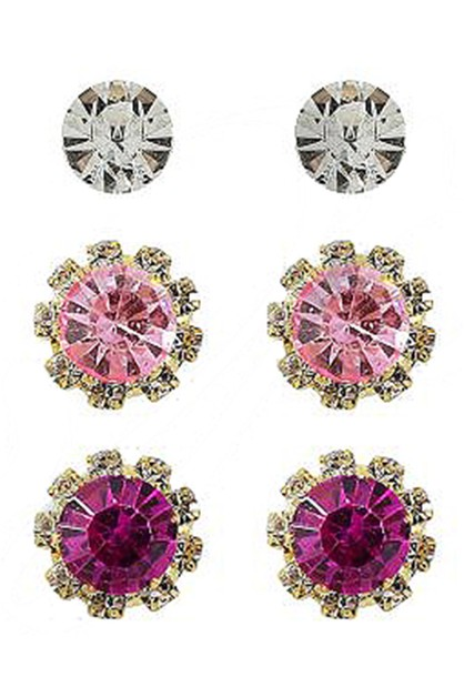 3-Pair Multi Stud Earring Set - orangeshine.com