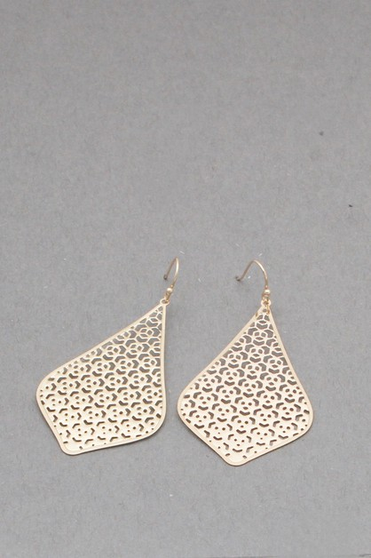 THIN METAL FILIGREE  DANGLE EARRING - orangeshine.com
