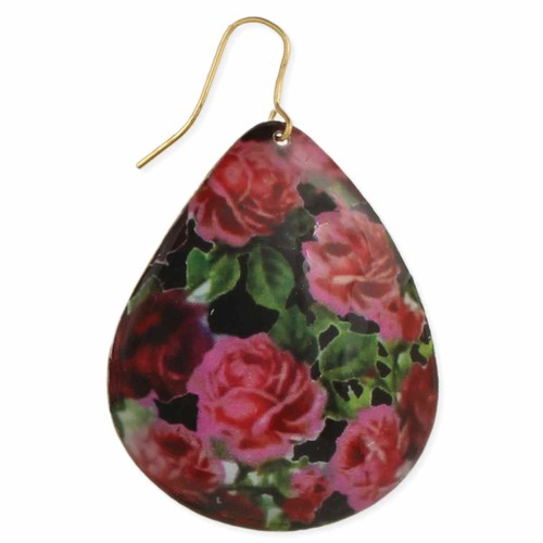 English Rose Print Earrings - orangeshine.com