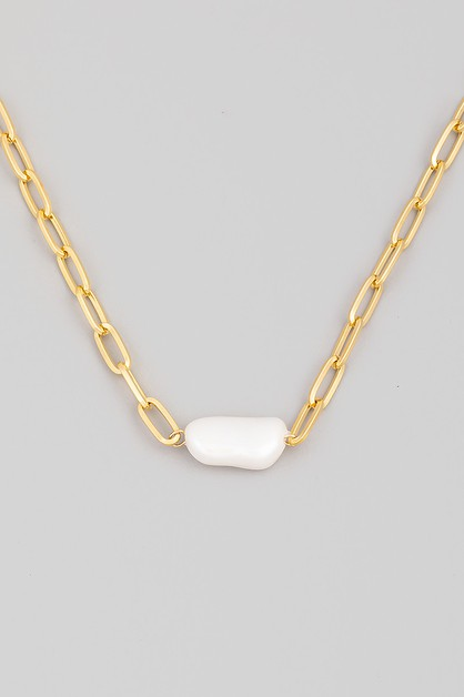 Pearl Bar Pendant Necklace - orangeshine.com